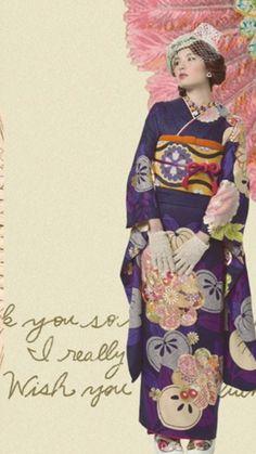 古代紫に橘 kimono hearts