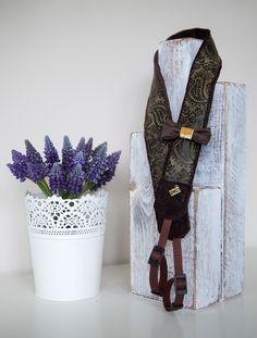 camera strap, czekoladowy aksamit plus zamszowa wytłaczana pięknym wzorem ozdobna taśma
