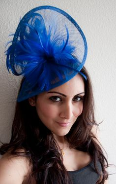 Royal Blue Fascinator Victoria Twist Mesh Embellished With Fluffy Feathers On A Headband