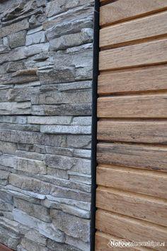 Combinatie van hout en steen. Grijze steenkleur en wildverband.