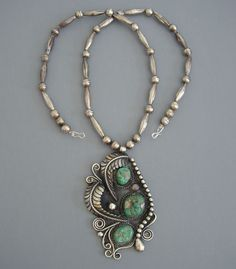 Necklace | Signed F & D Charley.  Sterling silver and turquoise.  ca. 1950s