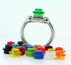 Lego ring in sterling silver with interchangeable lego!! So cool