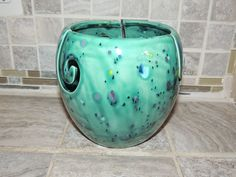 Yarn Bowl, triple thread, unique Turquoise speckled glaze.  Perfect gift for Christmas! Measures 6 x 6 by GabiLuBoutique on Etsy