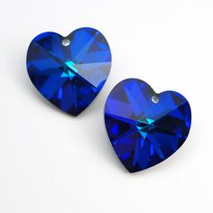 Vintage Swarovski heart beads, dark blue crystal pendants article 6200 17 mm, 2 pcs