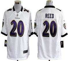 Nike Ravens #20 Ed Reed White Men's Embroidered NFL Game Jersey!$24.00USD