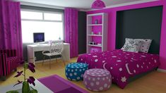 All The Best Teenage Girl Bedroom Ideas: Cool Pouf Ottoman And Bedding With Bookshelf Also Desk For Teenage Girl Bedroom Ideas