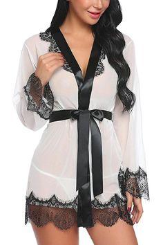 b8ed2c8ea8e8 Women Lingerie Eyelashes Lace Kimono Satin Sleepwear Short Babydoll Satin  Sleepwear, Sleepwear Sets, Nightwear