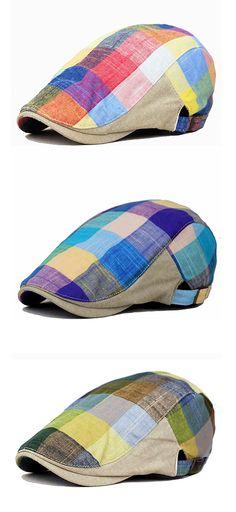 cc78d4efc0f Men Women Cotton Colorful Plaid Cap Duckbill Ivy Cap Flat Cabbie Newsboy  Beret Hat is hot sale on Newchic.