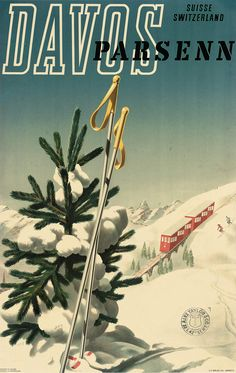 Parsenn is a resort in Switzerland near the town of Davos; it still runs an updated version of that red railway in the background of the poster.
