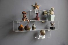 Modern Lucite Shelf Pair