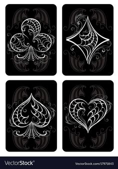 Black playing cards vector image on VectorStock Color Symbolism, Ace Card, Playing Cards Art, Diamond Tattoos, Card Tattoo, Heart Pictures, Alphabet Art, Symbol Design, Diy Crafts For Gifts