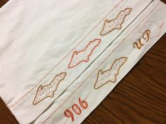 Michigan UP Pillowcase set Hand embroidered Silhouette Unique Fall Colors  #anniesupattic #Cottage