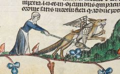 Woman attacks the beast with her spindle. Smithfield decretals. 1300-1340