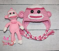 Hey, I found this really awesome Etsy listing at http://www.etsy.com/listing/118749324/crochet-sock-monkey-hat-and-doll-set