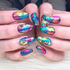 Magnificent Coffin Nails Designs You Must Try Foil Nail Designs, Crazy Nail Designs, Diy Unicorn, Unicorn Nails, Get Nails, How To Do Nails, Black Acrylic Nails, Organic Nails, Diva Nails