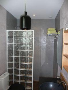cuisine: douche béton ciré et carreaux de verre deco i love ... - Brique Verre Salle De Bain