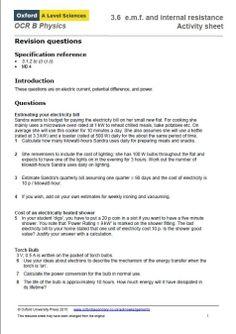Activity sheet for OCR Physics B A Level, E.M.F topic Physics Revision, A Level Physics, Exam Revision, Ocr B, Activity Sheets, Activities