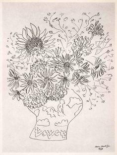 1969 Photolithograph Henri Matisse Sunflower Vase Bouquet Pen Sketch Modern XDB7 | Orig.  1942 - Vase of Flowers'   8'' x  10'''.