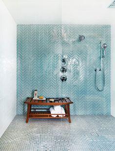 Good-Looking Turquoise Bathroom Bathroom Beach Style with Blue Tiles Glass Doors Walk in Shower Head Glass Tile Bathroom, Blue Glass Tile, Master Bathroom Shower, Loft Bathroom, Glass Tiles, Blue Tiles, Vanity Bathroom, Wood Vanity, Chic Bathrooms