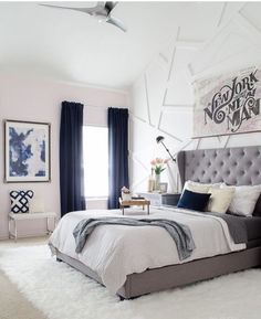 Bedroom Modern Glam Bedroom with Gray Tufted Headboard - Love the blending of modern and glam with a little downtown edge!Modern Glam Bedroom with Gray Tufted Headboard - Love the blending of modern and glam with a little downtown edge! Navy Blue Bedrooms, White Bedrooms, Blue Bedroom Curtains, Dark Blue Curtains, Navy Bedroom Decor, Design Bedroom, Bedroom With White Walls, Navy And White Curtains, Blue And Cream Bedroom