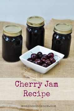 One recipe I love to make ahead for wintertime is this Cherry Jam Recipe. It uses the water bath canning technique, so it's super easy to make, and it tastes really great as well! I think I'll try making cherry jam this year. Cherry Jam Recipes, Jelly Recipes, Can Jam, Sauce Creme, Water Bath Canning, Canned Cherries, Jam And Jelly, Canning Recipes, Freezer Recipes