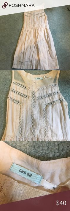 Nude Dress with Sheer Inserts and Panels So adorable! Worn once a few years ago. Very cool and breezy. Purchased from a urban outfitters and brand is Kimchi Blue Urban Outfitters Dresses Mini
