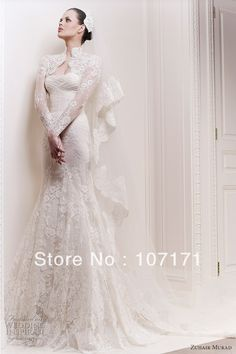 Custom-made Chapel Train With Long Sleeve Jacket Lace Wedding Dress Mermaid Wedding Gown $300.00