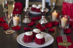 Candles, bubbly & bundtinis. The perfect tablescape for your love.  #sweet | Nothing Bundt Cakes