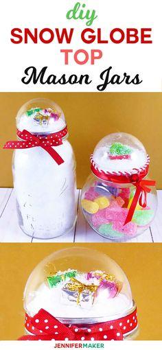 Snow Globe Top Mason Jar Tutorial | How to Make Mason Jar Gift | DIY Christmas Gift | Easy Affordable Holiday Present | Gifts in a Jar