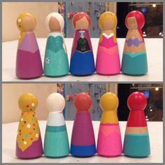 3 1/2 inch Disney Princess Peg Dolls. Choose Elsa & Anna from Frozen. Belle from Beauty & the Beast. Rapunzel from Tangled. Aurora from Sleeping Beauty. Ariel from Little Mermaid. Jasmine from Aladdin. Cinderella. Pocahontas. Snow White.