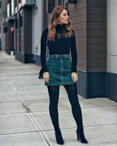 winter outfits for work - winteroutfits Stylish Winter Outfits, Winter Fashion Outfits, Fall Winter Outfits, Look Fashion, Spring Outfits, Autumn Fashion, Casual Outfits, Skirt Outfits For Winter, Denim Skirt Outfit Winter