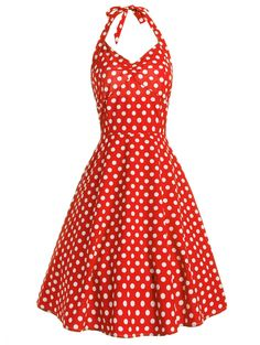 Vintage Dresses | Red Halter Lace Up Polka Dot 50s Dress - Gamiss