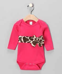 Pink Giraffe Bodysuit - super cute with a diaper cover made from same fabric as the trim  bow on bodysuit.