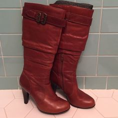 ALDO leather riding boots These boots are in like new condition and have only been worn a few times. 4 inch heel ALDO Shoes Heeled Boots