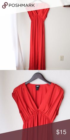"""H&M Red Gown Perfect for formal parties. Dress is made of 100% polyester, length is 51"""" from shoulder to bottom of dress. Flows when you walk, exquisite! H&M Dresses Maxi"""