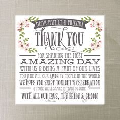 Instant Download - Thank You Place Card - Wedding Reception - Place Setting Card - Thank You by CreativeUnionDesign on Etsy https://www.etsy.com/listing/179286061/instant-download-thank-you-place-card