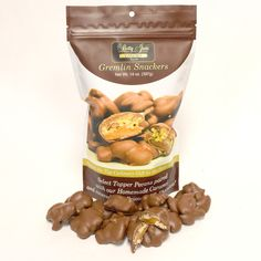 Gremlin Snackers! Our flagship product, People Magazine's Top Culinary Gift In Iowa, now available in a bite size snack! Select Topper Pecans, homemade caramel and our special blend of chocolate. 14oz resealbale snack bag!