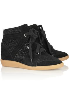 I want these so!! - Isabel Marant|Boston snake-effect suede sneakers|NET-A-PORTER.COM