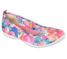cd79b2d9b207 22858 Multi Skechers Shoes Memory Foam Women Slip On Walk Flat Ballet  Floral Oxford Flats