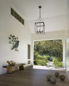 Soothing Spheres ... Coastal White Weatherboard .. Coach Lamp Pendant Light Leading out to the outdoor garden