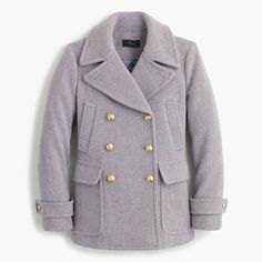 J.Crew Stadium-Cloth Majesty Peacoat ($380) ❤ liked on Polyvore featuring outerwear, coats, petite, pea coat, petite coats, evening coat, peacoat coat and j crew coat