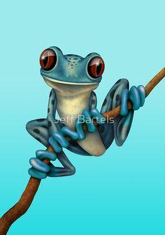 Cute Blue Tree Frog on a Branch   Jeff Bartels