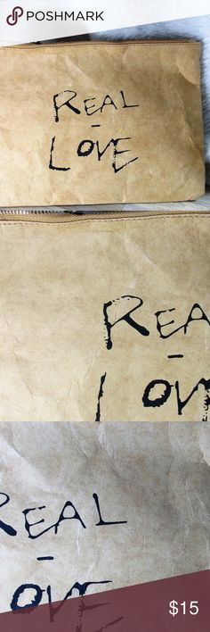 Real Love Paper Clutch * Real Love Casual Clutch  * 11.25W *8.25H  * Paper * Lined Bags Clutches & Wristlets