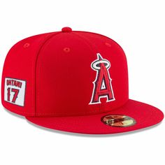 a3926cd219642 Men s Los Angeles Angels Shohei Ohtani New Era Red Player Patch 59FIFTY  Fitted Hat