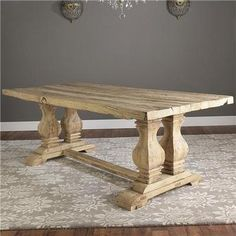 Reclaimed Elm Wood Trestle Dining Table by shadesoflight.com $2,399