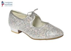 Tappers & Pointers Girls/children's Silver Glitter Tap Shoes - Low Heel - sizes 5 junior to 5 large (2L)