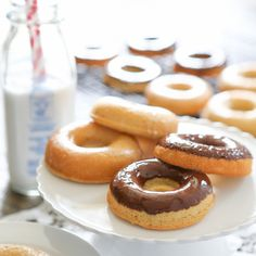 Donuts      1 1/2 cups blanched almond flour     1/2 cup arrowroot flour     3 teaspoons baking powder (Hain Brand)     1/2 teaspoon salt     2 eggs     1/2 cup maple syrup, grade B     1 teaspoon pure vanilla extract     3/4 cup coconut milk     3 tablespoons coconut oil, melted     1 cup chocolate ganache (recipe below)  Chocolate Ganache      2 cups enjoy life chocolate chips     4 tablespoons palm oil shortening, organic