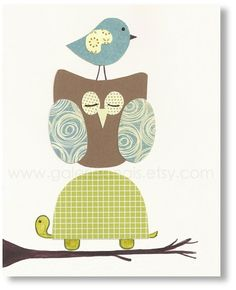 Baby nursery art, decorations for kids room, nursery woodland, kids woodland, kids owl, kids Turtle, The Forest Friends 8x10 print.
