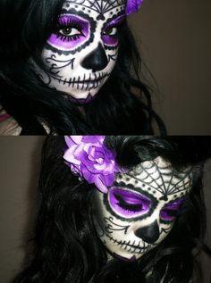 purple, halloween costumes, body paintings, halloween makeup, candy skulls
