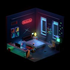 My New Room, My Room, Nintendo Room, Gaming Room Setup, Pc Setup, Isometric Design, Isometric Art, Bedroom Setup, Video Game Rooms